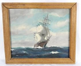 T. Bailey Orig. Oil on Canvas Nautical Painting