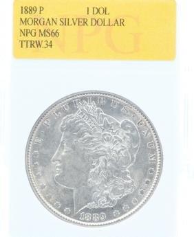 1889-P Morgan Silver Dollar MS66 NPG Slab 10% BP