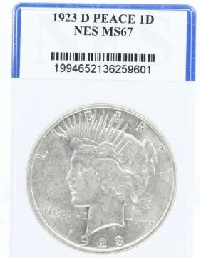 1923-D Peace Dollar Graded MS67 in NES Slab 10%BP
