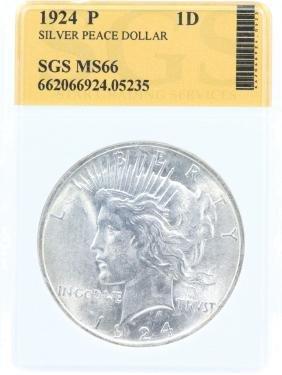 1924-P Silver Peace Dollar MS66 in SGS Slab 10%BP