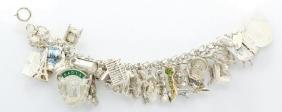 """Vintage Sterling Silver 7"""" (42) Charm Bracelet"""