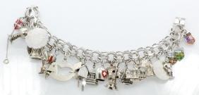 "Vintage Silver 8"" (24) Charm Bracelet W/Enamel"