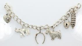 "Antique Sterling Silver 7"" (6) Charm Bracelet"