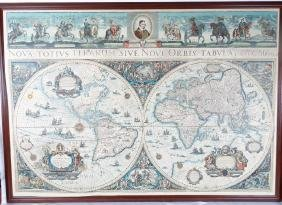 Framed Colored Engraved 17th C. World Map