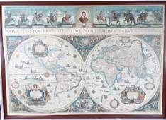 Framed Colored Engraved 17th C World Map