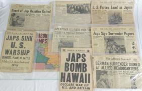(9) Rare WWII Era 1937-1945 Newspaper Articles
