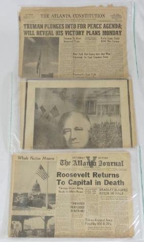 (3) 1945 Newspaper Articles About Death of FDR