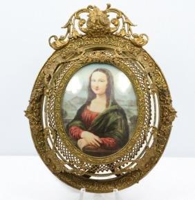 Antique Mini Mona Lisa Signed D. Vinci in Frame