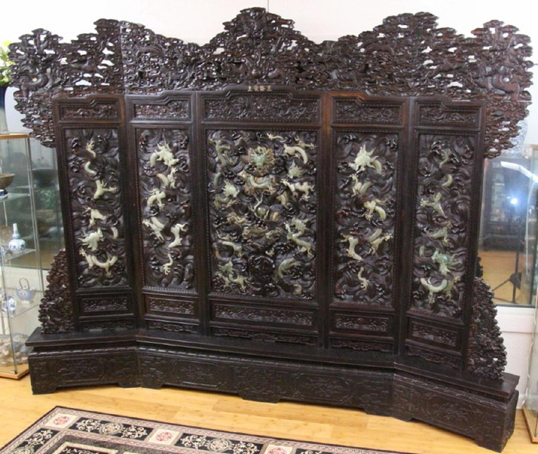 Hand Carved Monumental Room Divider W/Jade Inlay