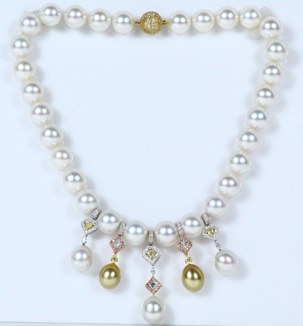 7ctw Diamond, 18K & 15mm South Sea Pearl Necklace