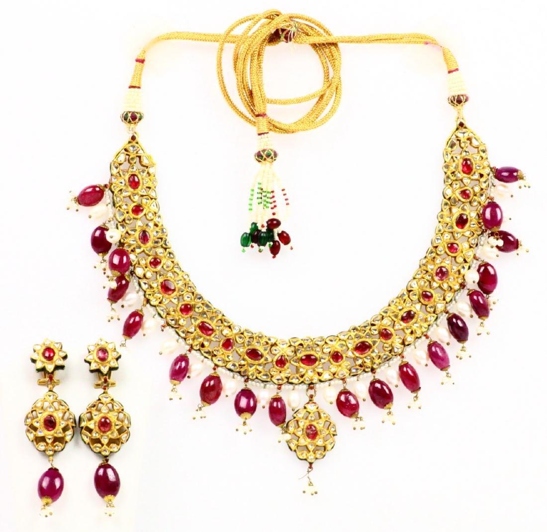 15ctw Diam,130ctw Ruby 18-22K Necklace/Earrings