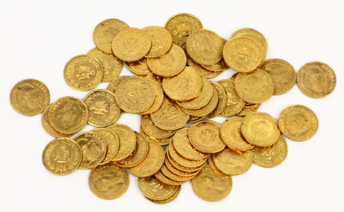 (65) Solid 87% Gold Maximiliano Emperador Coins - 2