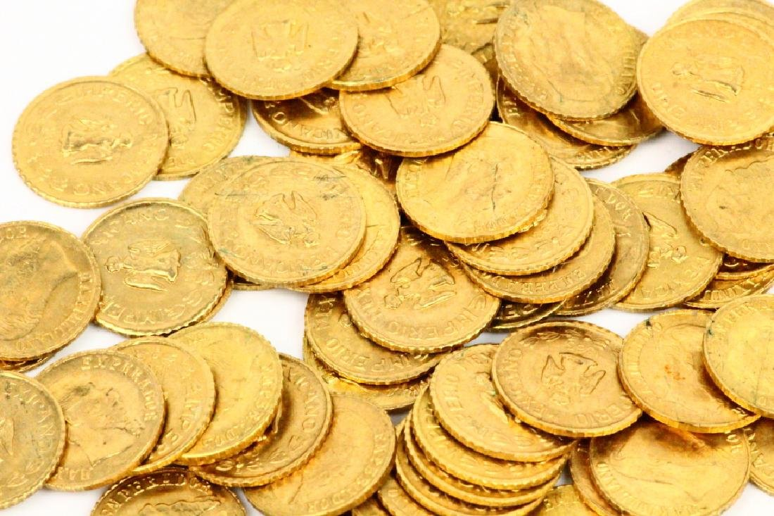 (65) Solid 87% Gold Maximiliano Emperador Coins - 3