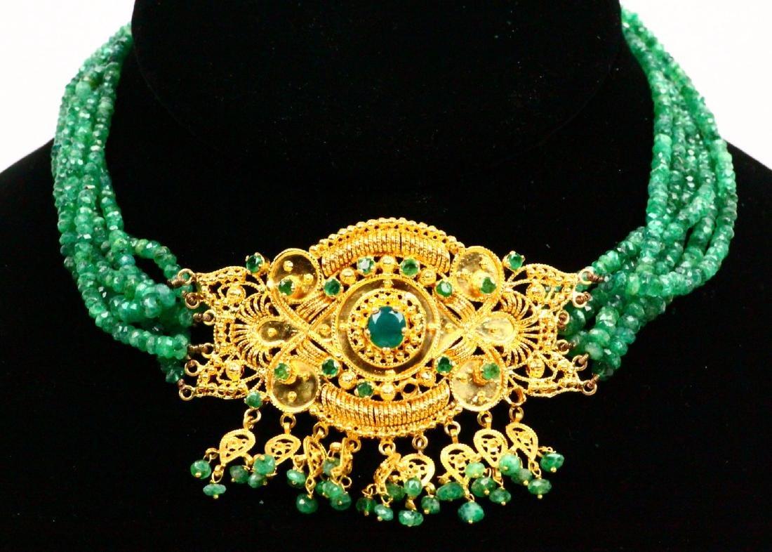 65ctw Emerald KDM Designer 22K Necklace SIGNED
