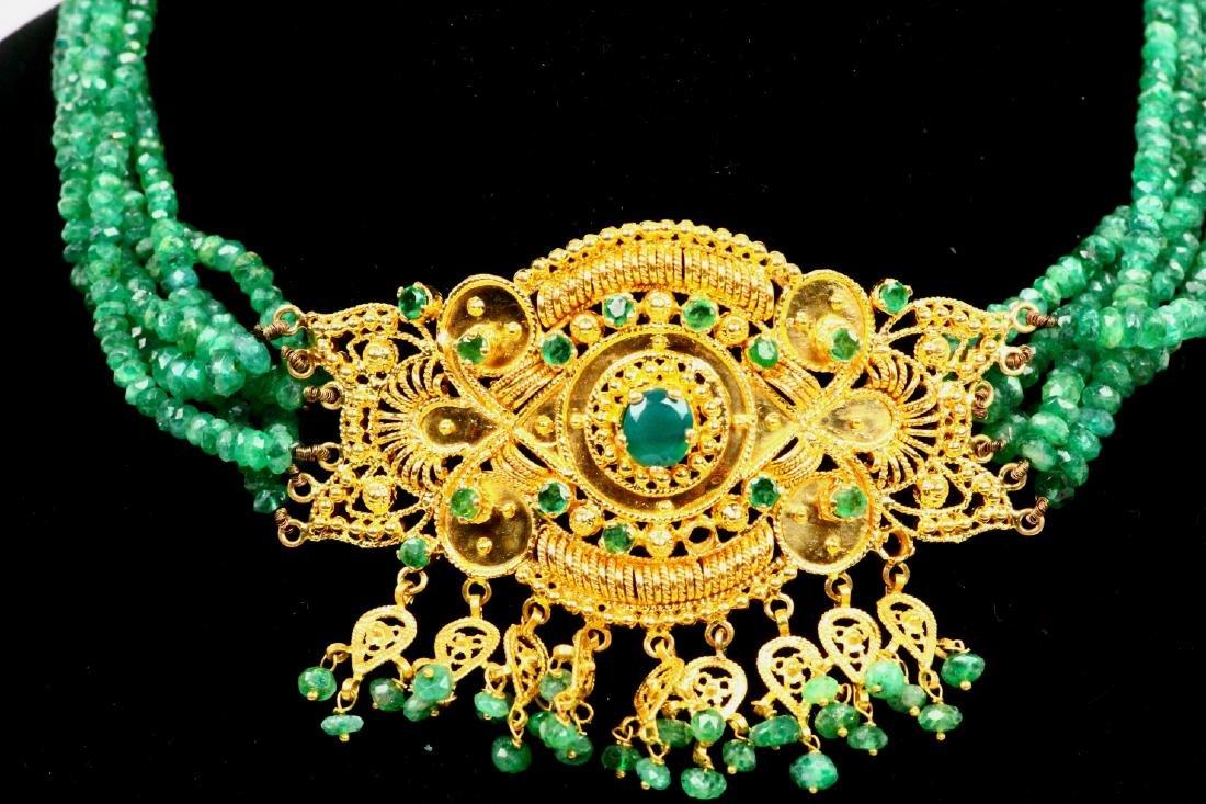 65ctw Emerald KDM Designer 22K Necklace SIGNED - 2