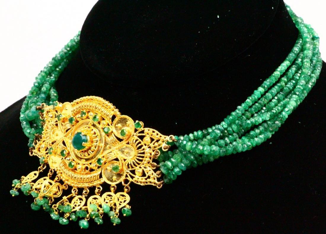 65ctw Emerald KDM Designer 22K Necklace SIGNED - 3
