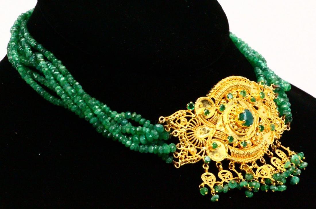 65ctw Emerald KDM Designer 22K Necklace SIGNED - 4