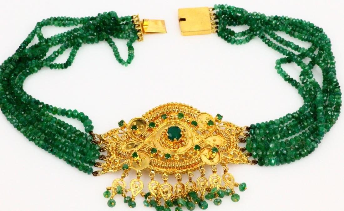 65ctw Emerald KDM Designer 22K Necklace SIGNED - 5