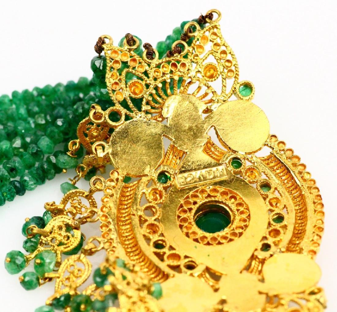 65ctw Emerald KDM Designer 22K Necklace SIGNED - 6