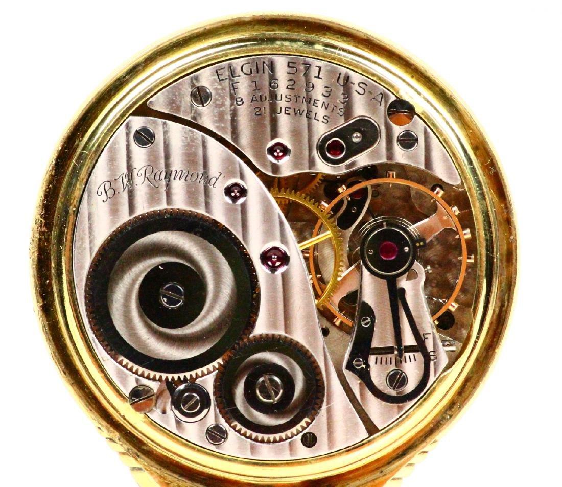 1951 Elgin B.W. Raymond Open Face 21J Pocketwatch - 4