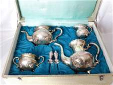 19th C. French 4-Pc. 950 Silver Footed Tea Set