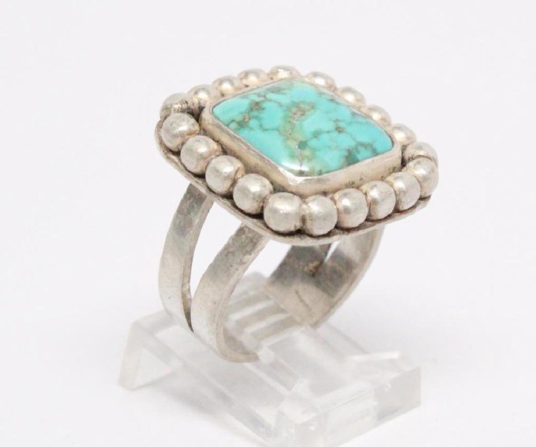 Native American Turquoise & Sterling Silver Ring - 3
