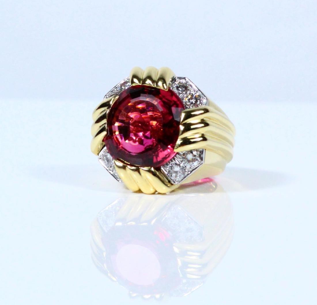 David Webb Plat/18K 27ct Rubellite & Diamond Ring