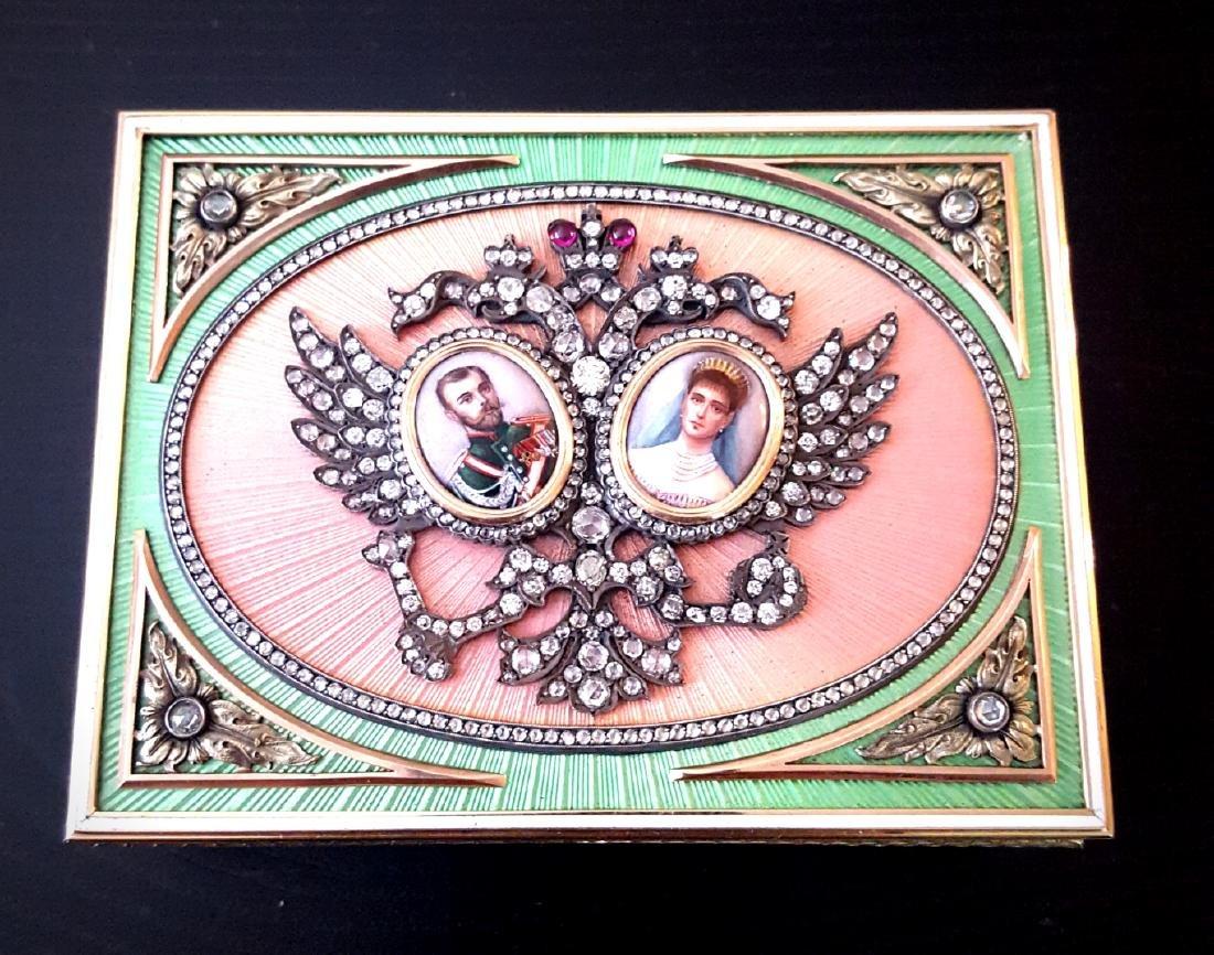 Faberge 5ctw Diamond 56 Gold Box W/Pastel Enamel