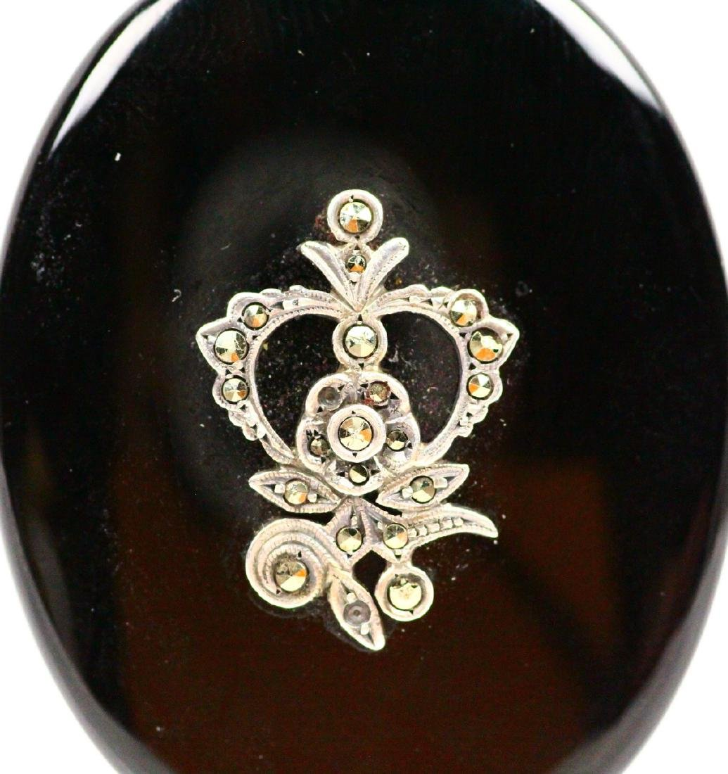 "Victorian 2"" 14K, Diamond, & Onyx Mourning Brooch - 2"