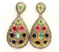 7ctw Gemstone, 3ctw Diamond Silver & Gold Earrings