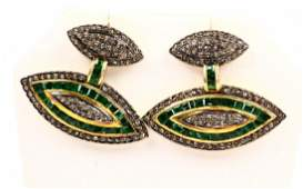2.5ctw Emerald, 2ctw Diam. Silver & Gold Earrings