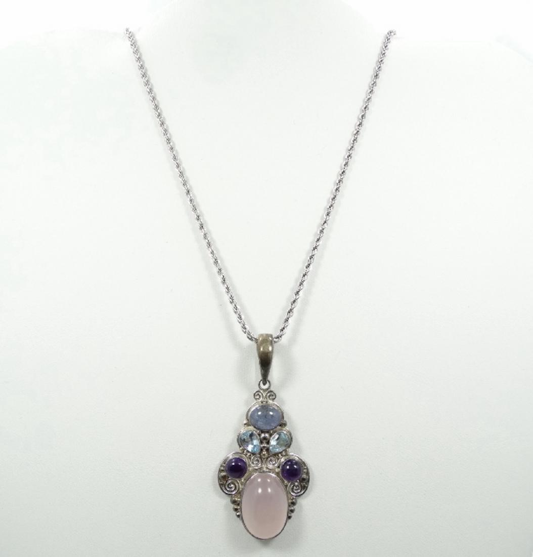 Sajen Sterling Silver & Multi Gemstone Pendant