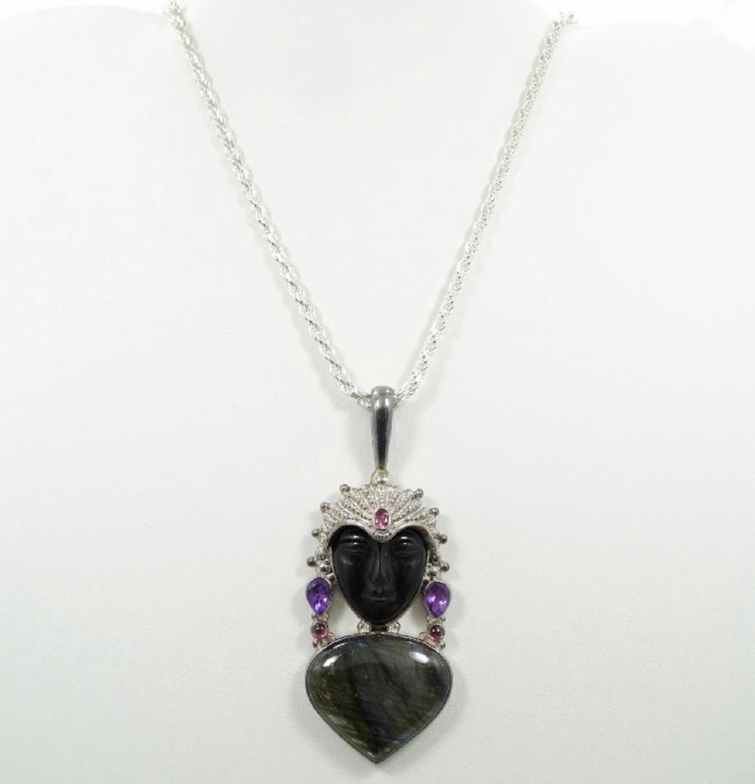 Sajen Sterling Silver & Obsidian Goddess Pendant