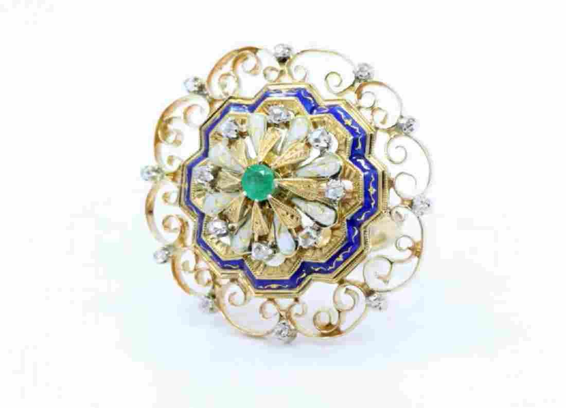 Tiffany 18K Band W/Diamond,Emerald,Enamel