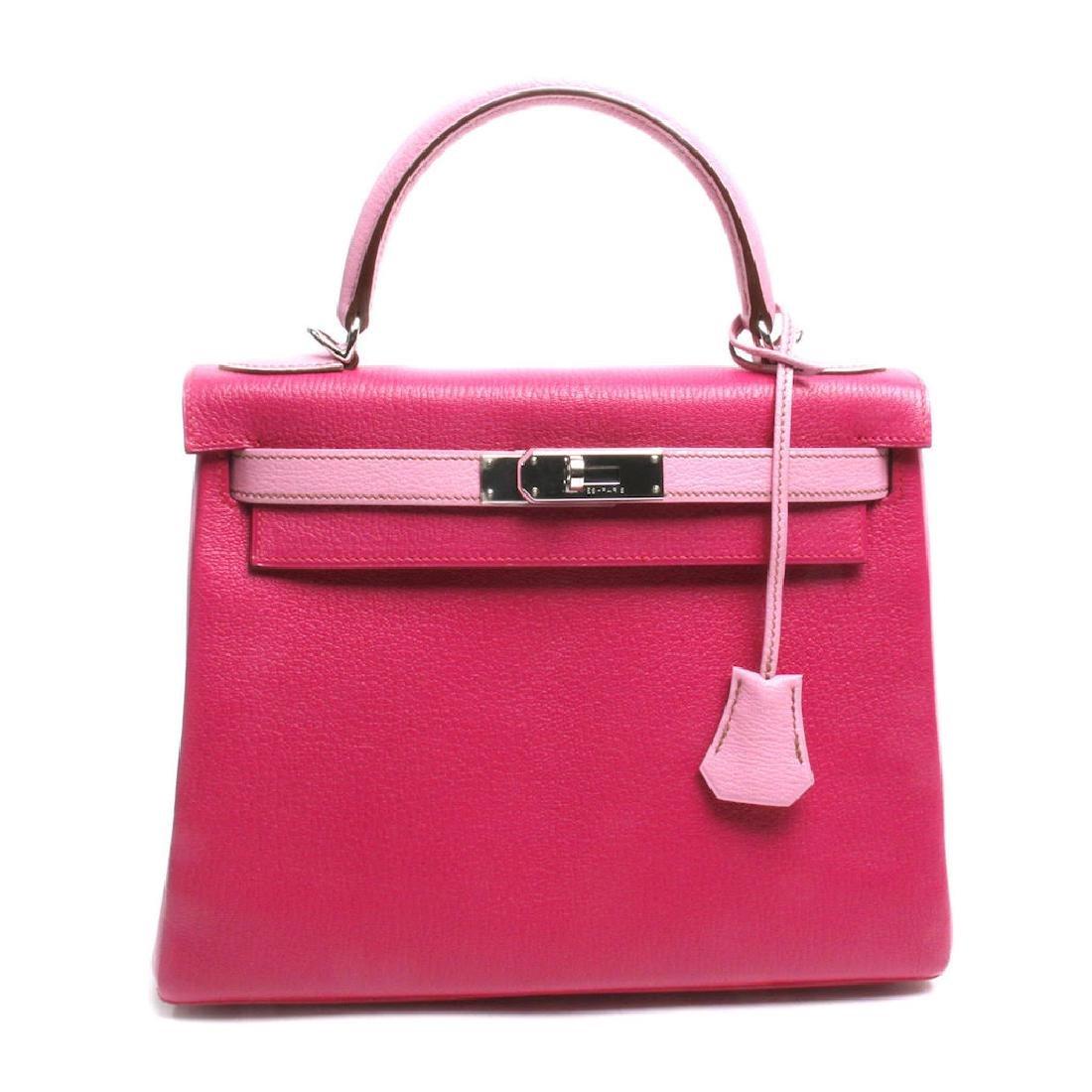 Hermes Horseshoe Fuchsia & Pink Chevre Kelly Bag