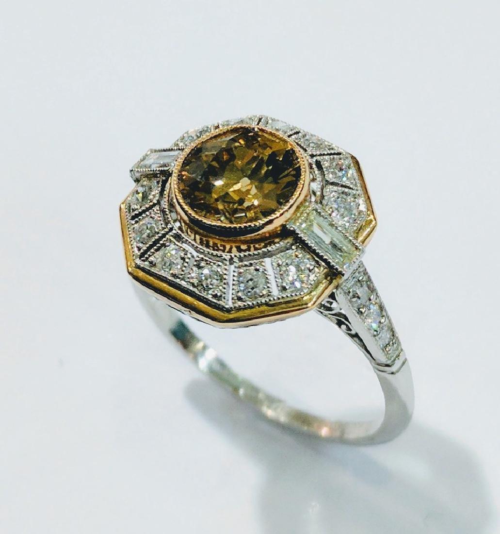 1.3ct SI2 Fancy Yellow-Brown GIA Diam. Plat. Ring