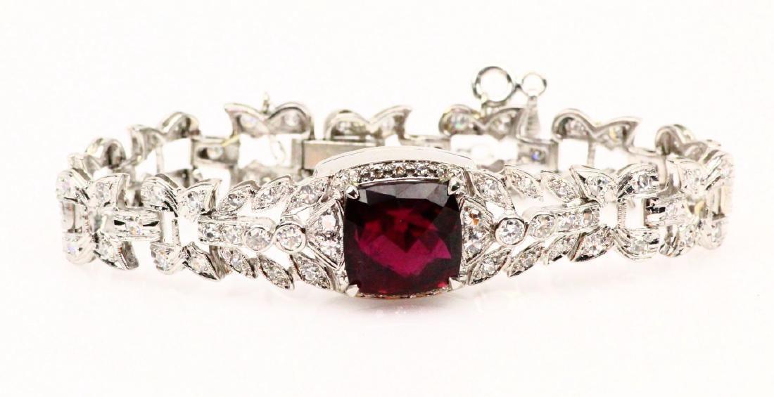 9ct Rubellite, 2.5ctw Diam. & Platinum Bracelet