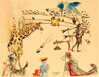 "Salvador Dali ""Burning Giraffe"" Aubusson Tapestry"