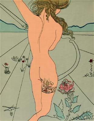 """Salvador Dali """"Nude With Garter"""" Aubusson Tapestry"""