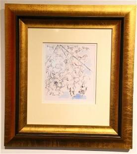 """Salvador Dali Original Study for """"Blue Horses"""""""