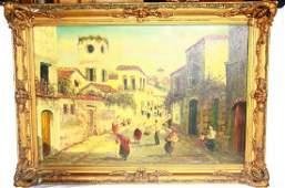 "19th C. Original Painting Signed ""A. de La Vega"""