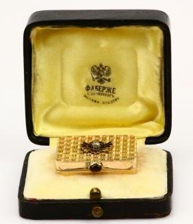 "K. Faberge Solid ""56"" Gold Pill Box W/diamond"