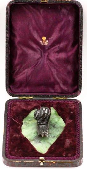 "K. Faberge Obsidian ""snail"" On Nephrite Leaf"