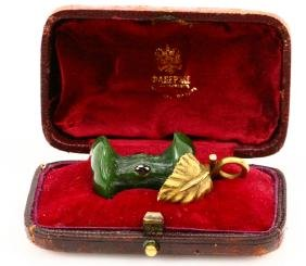 Karl Faberge Nephrite Apple Bit W/solid 56 Gold