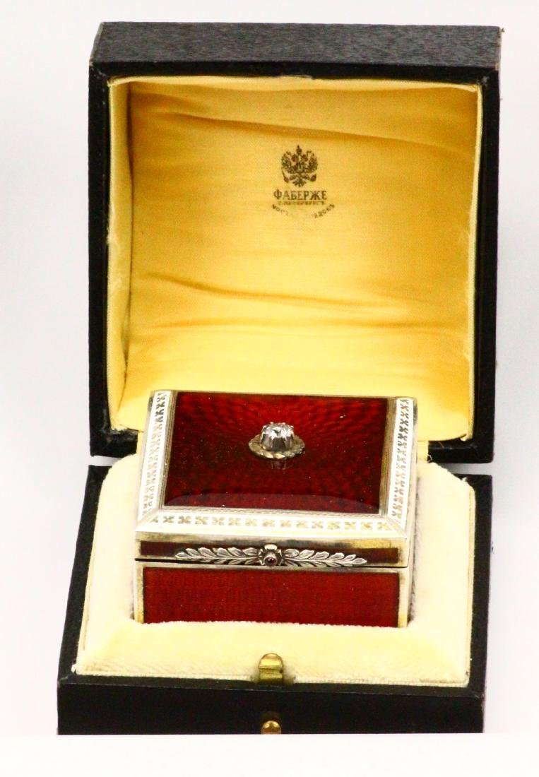 Faberge 84 Silver Burnt Red Guilloche Enamel Box