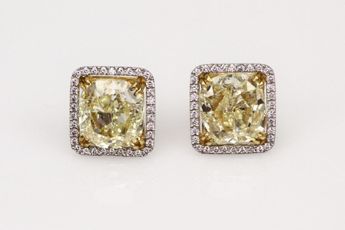 11ctw GIA Yellow Diam., 1ctw Diam/Plat. Earrings