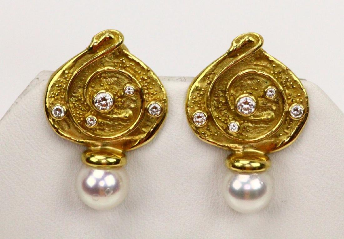 Elizabeth Gage 18K Earrings W/Pearls & Diamonds