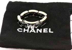 "Chanel 18k & Black Ceramic Flexible ""ultra"" Ring"