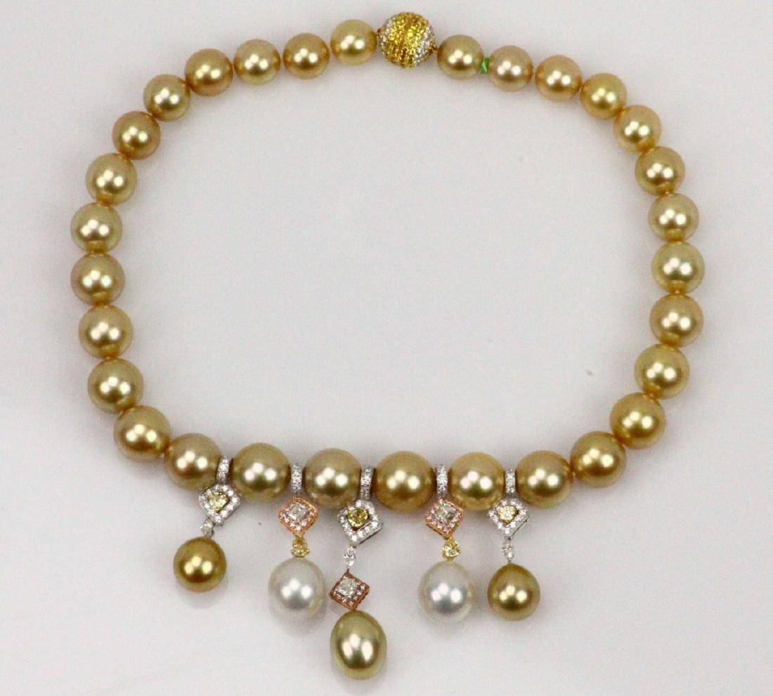 7ctw Diamond, 18K & 15mm South Sea Pearl Necklace