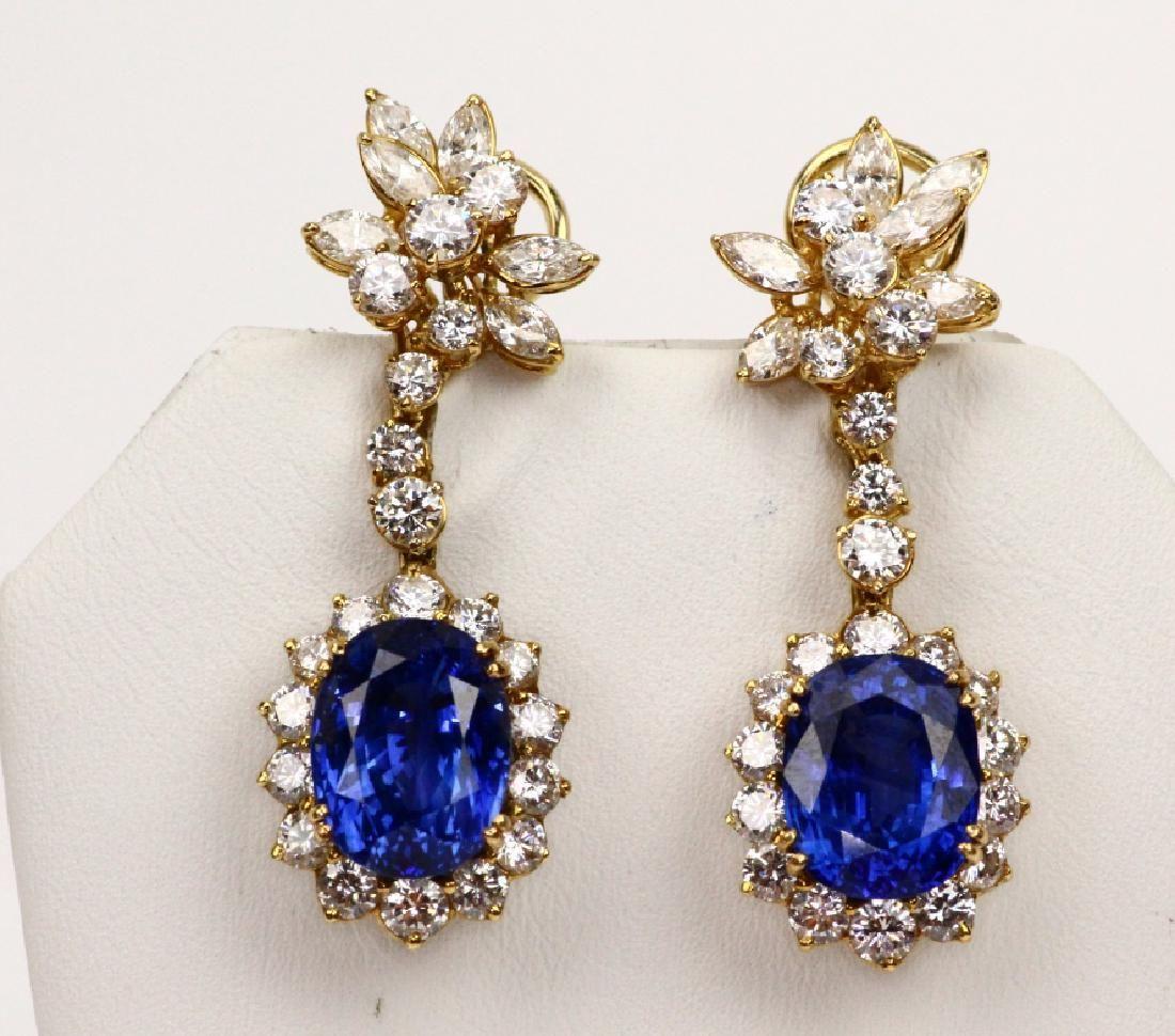 10ctw Blue Sapphire, 8.5ctw Diam. & 18K Earrings